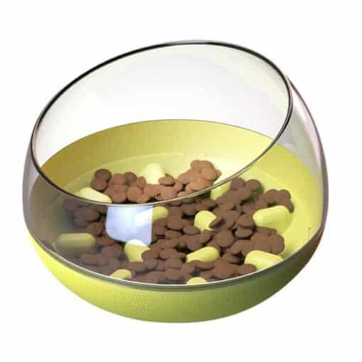 bol chien anti-glouton jaune